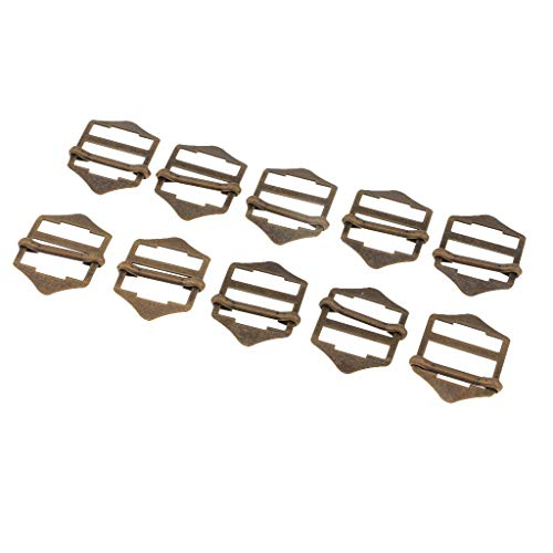 perfk 10pcs Metallic Slip Buckles Adjuster Sewing Clasp Button for Leather Sewing