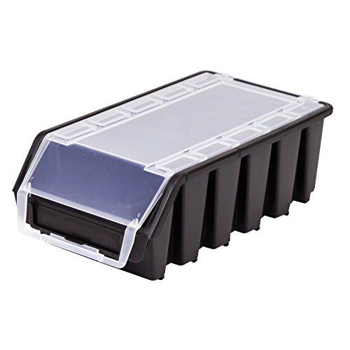 Stapelbox Stapelkiste Sortierbox Ergobox mit Deckel Gr. 2L schwarz Lager