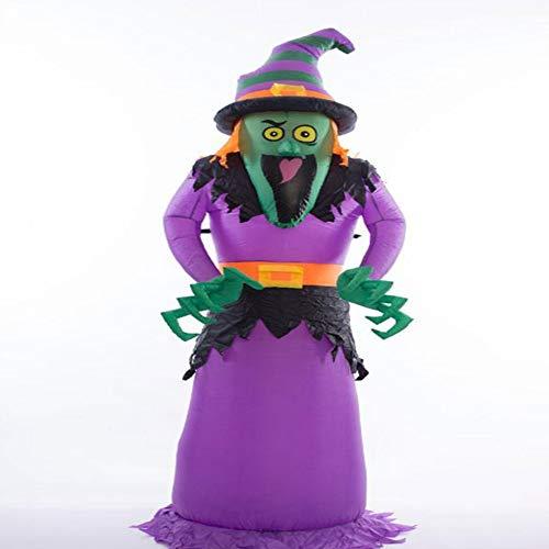 (YANKAN Aufblasbare Kürbis Licht, Ghost House Set Dekoration, Hexe mit grünem Gesicht, aufblasbare Halloween Dekoration Leuchten im Freien/Indoor (2.4M))