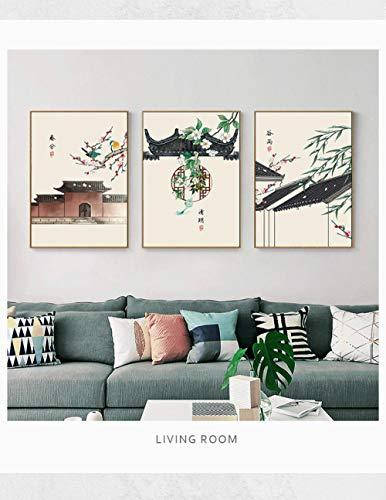 LLXHG Traditionelle Chinesische Tinte Gebäude Wandkunst Leinwand Malerei Bambus Poster Wandbilder Wohnzimmer Wohnkultur Auf Leinwand Drucken 3 Stücke Kein Frame50 * 70 cm -