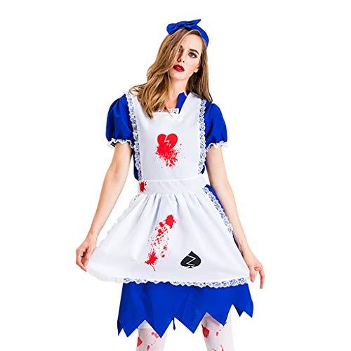 JXQ-N Damen Halloween Sexy Blutiges Zombie Krankenschwester Kostüm Krankenschwester Stretch Kleid Damen Kostüm, Mit Eingenähter Schürze Und - Blutige Zombie Kostüm