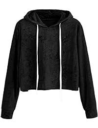 OverDose Damen Herbst-Sport-Art-Frauen-Lange Hülsen-Hoodie-Sweatshirt- Pullover-mit Kapuze im Freien Laufende Aktive Pullover-Oberteile… 6b92c7c448