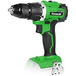 Kawasaki 603020031 AK Power 20 V Visseuse sans fil 2 vitesses 50 Nm Couple LED Lumière de travail avec fonction de démarrage rapide, moteur sans balais sans fil, vert, noir