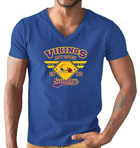 Vikings The Vikes American Football Any Given Sunday Premium T-Shirt Herren V-Neck Herrenshirt, Größe:M, Farbe:Royalblau (Royal Blue L151)