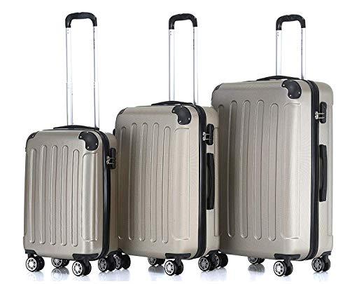 BEIBYE 2045 Koffer Kofferset Trolley Reisekoffer Gold Set