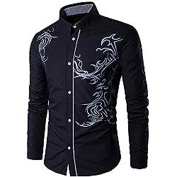 Camisas Formales de Hombre Manga Larga Moda Estampado de Dragón Camisetas Casual Entallada Remeras de Trajes
