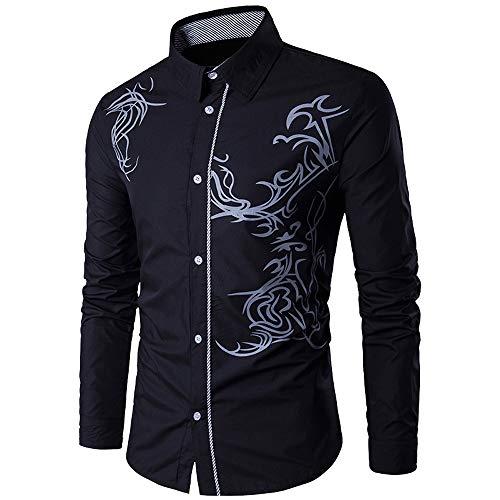 LuckyGirls Camisas Formales Blazers de Hombre Manga Larga Negocio Moda Estampado de Dragón Camisetas Casual Entallada Remeras de Trajes