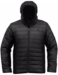 SoulStar Men's Hooded Quilted Padded Lightweight Jacket Puffa Coat Size