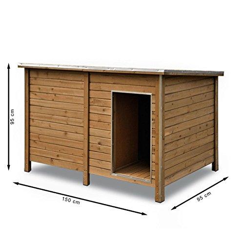 Happypet® Hundehütte DK150-2 wetterfest, isoliert mit Windfang aus Massivholz 150 x 95 x 95 cm - 7