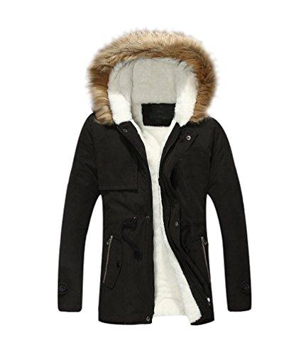 Hombre Hooded Parka Largo Chaquetas con Faux Fur Capucha Grueso Calentar Invierno Abrigo