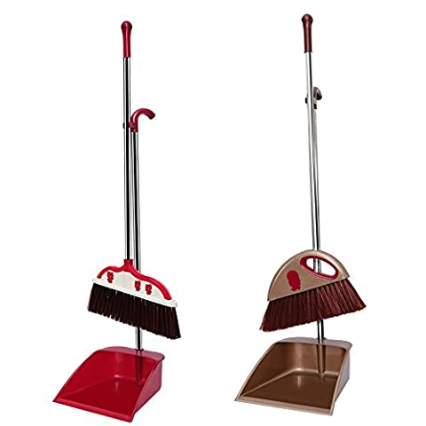 Home plastic broom dustpan sweeping dust removal suit combination, champagne