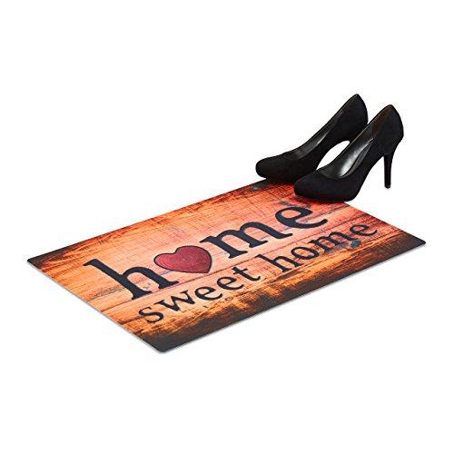 Relaxdays Fußmatte Home Sweet Home, flacher Fußabtreter 60x40 cm, rutschfester Vorleger für Indoor und Outdoor, bunt -