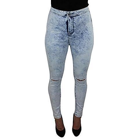 CELEB LOOK Acid Wash Rip de talle alto rodilla Disco Jeans
