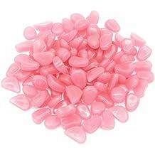 TININNA 100 piedras decorativas luminosas que brillan en la oscuridad ,Guijarro Piedras Fluorescentes Luminoso Colores para Acuario pecera Jardin -Rosa
