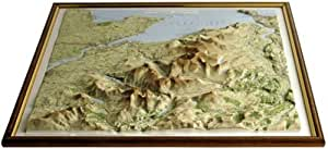 "Relief Map of Snowdonia (32"" x 29"") with free 3D card of the British Isles"