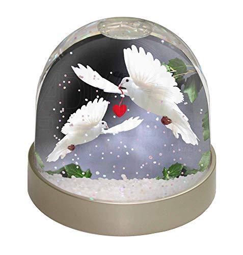 Advanta Zwei weißen Tauben + Rot Herz Foto Snow Globe Schneekugel Strumpffüller Geschenk, mehrfarbig, 9,2x 9,2x 8cm