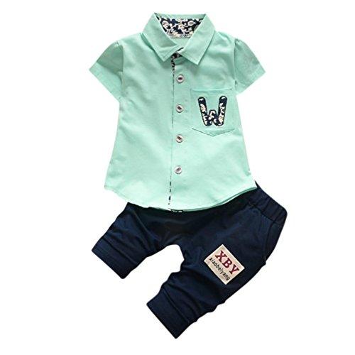 squarex Baby Jungen Mädchen Buchstabe Pocket T-Shirt Tops Hose 2Set Kleidung, Kinder, grün (Boy Verziert Short)