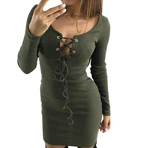 Damen Sexy Elegant Langarm Bodycon langes Kleid Stretch einfarbiges Rock Kleid Paket Hüfte Schulterfreie Kleider Partykleider Halter Crisscross Bandage dünnes Cocktail Rückenfreies (XXL, Armee-Grün) (Verschönert Bandeau)