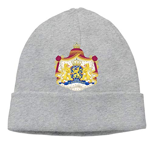 Royal Coat of Arms of The Netherlands Warm Stretchy Solid Daily Skull Cap Knit Wool Beanie Hat Outdoor Winter Chunky Knit Visor Beanie