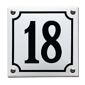 emaille hausnummernschild wei nummer 18 baumarkt. Black Bedroom Furniture Sets. Home Design Ideas
