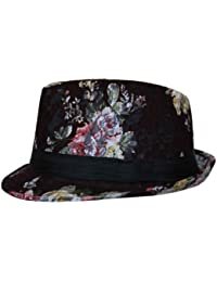 Crochet Floral Print Trilby Fedora Hat with Band in Brown