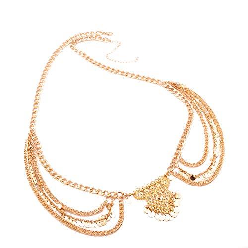 r Beachwear, Dame Yoga Metall Quaste Körper Bauch Taille Kette Gothic Bikini Bar Beachwear (Gold) ()