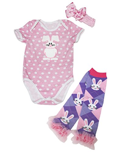 Easter Rabbit Pink White Dot One Piece Bodysuit Leg Warmer Baby Nb-12m (0-3 Months) (White Rabbit Kleinkind Kostüm)