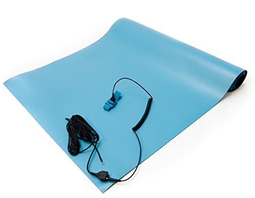 """Bertech ESD High Temperatur Gummimatte Kit mit einer Handschlaufe und Erdung Kordel, 0,2cm Dick, blau, 2' Wide x 4' Long x 0.08"""" Thick, blau, 1"""