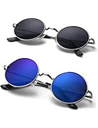 Eye Collection Non-Polarized UV-Protected Round Unisex Sunglasses (EYE05, 55, Blue and Black) -Combo Pack of 2