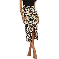 Lenfesh Falda Midi Leopardo para Mujer Sexy Falda Atractivas Corto de Fiesta Casual del Dobladillo Irregular Vestido Fiesta Elegantes