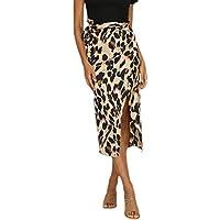 Falda Leopardo Mujer Sexy, Gusspower Moda Mujer Estampado Volantes Corto Imperio Cintura hasta la Rodilla de Noche Falda