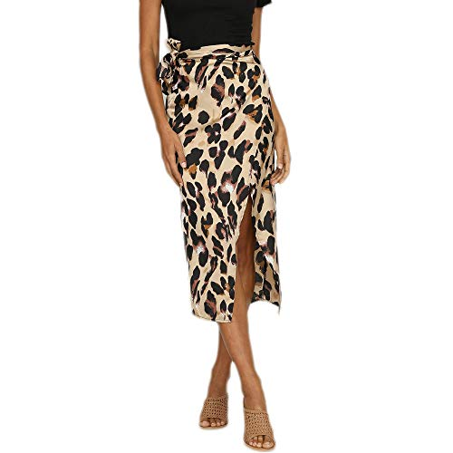 638c01811d iHAZA Maxi Skirt Women England Leopard Printed Split Bandage Evening Party  Skirt Brown