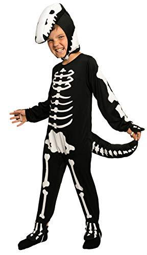 Magicoo Dinosaurier Skelett Kostüm Kinder Jungen schwarz-weiß - schickes Halloween Kostüm Kinder Jungen Gr. 110 bis 140 (110/116)
