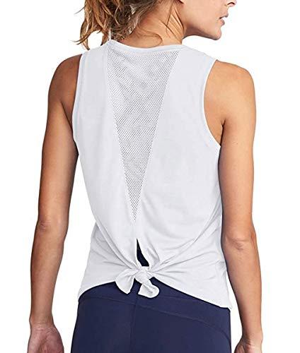 CLOUSPO Gym Tops für Frauen Workout Fitness ärmellos Yoga Tank Crop Top Lauftop mit Band und Netzrücken Gr. X-Large, A-White -