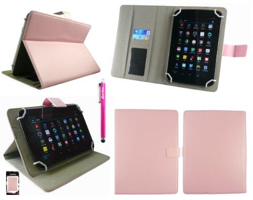 Emartbuy® Rosa Stylus + Universalbereich Baby Rosa Multi Angle Folio Executive Case Cover Tasche Hülle Schutzhülle Wallet mit Kartensteckplätze Geeignet Für I.onik TP - 1200QC 7.85 Inch Tablet