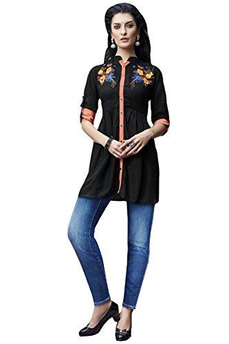 Kurti (J B Fashion Women\'S Rayon Black Colour Kurta (k2028))