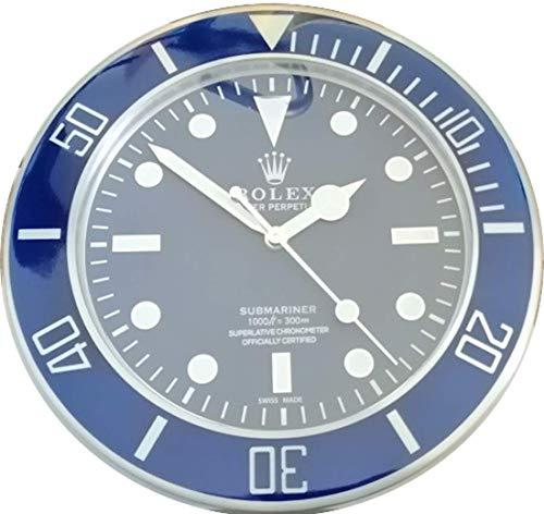 Replica rolex orologio 35 cm da muro submariner ghiera blu in metallo e quadrante blu no data movimento fluido silenzioso 2 anni garanzia e 2 cd in omaggio made in italy