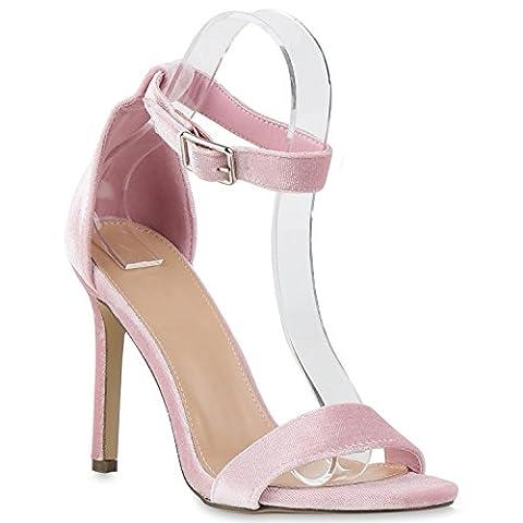 Damen Strass Sandaletten Stiletto High Heels Party Braut Hochzeit Abschlussball Nieten Prints Schuhe 130336 Rosa Schnalle 38 |