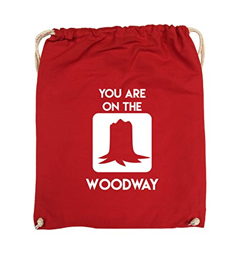 Comedy Bags - YOU ARE ON THE WOODWAY - Turnbeutel - 37x46cm - Farbe: Schwarz / Pink Rot / Weiss