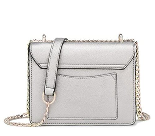 Donne Top In Pelle In Pelle Manico Shell Borsa Messenger Bag Cross Body Large Large Silver