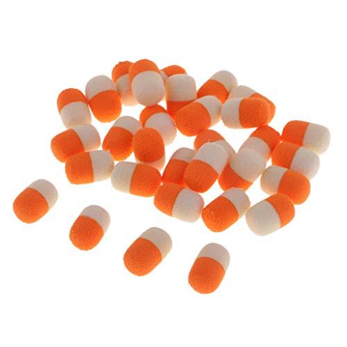IPOTCH Schwimmend Fischen Angeln Boilies Karpfen Ködern Set, Helle Farben Kapsel Form (30 Stücke/Set) - Orange + Weiß 12mm - Perlen 30 Kapseln