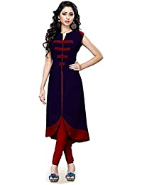 Muta Fashions Cotton Blend Navy Blue Women Kurti (KURTI48_Navy Blue)