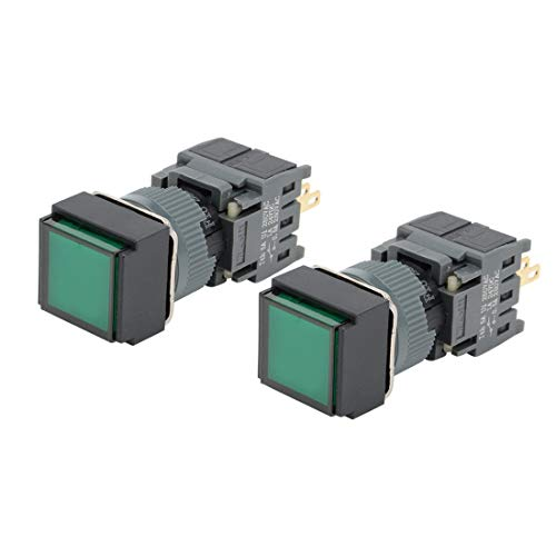 ZCHXD 2pcs Momentary Push Button Switch Square Head 16mm Mounting Dia SPDT 1NO 1NC with 24V Green LED Light -