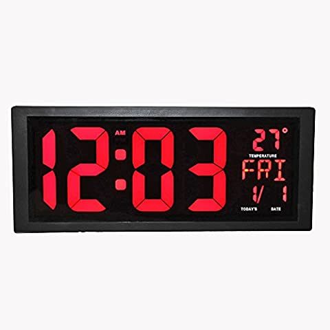 LambTown Daylight Saving LED Digital Wall Clock with Fold-Out Stand for Tabletop Placement, Displays Indoor Temperature, Calendar, Date and Week for Home Office Gyms - Red