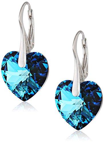 LillyMarie Orecchini per donna argento 925 sterling, Elementi Swarovski originali blu, Cuore, con custodia per gioielli