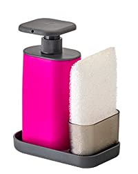 Vigar Rengo Sink Side Set With Pink Soap Dispenser, 6-3/4-Inches, Pink, Black