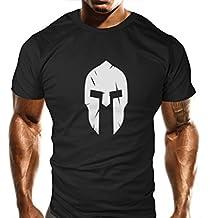 Camiseta con diseño de espartano, para gimnasio, entrenamientode musculación, deporte, estilo informal, holgada, original, hombre mujer, color Large, tamaño large