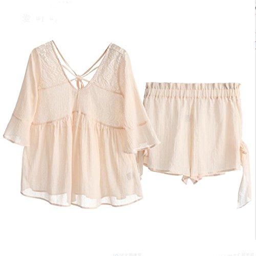 Sommer Sexy Lace Shorts Unterwäsche Süße Nette Mädchen Pyjamas Home Service Sets (Schlafanzug + Shorts) ZLR (Farbe : Light pink, größe : XL)