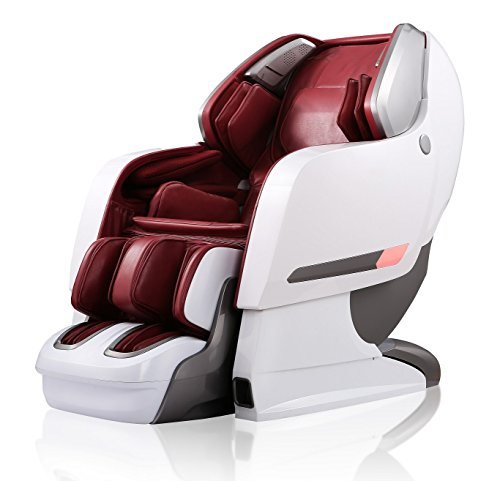 Luxus Massagesessel'SPACE-SHUTTLE PLUS' 3D-Massage Auto-Scan Zero-Gravity Ganzkörperluftkisse Heiztherapie Musik (Weiß-Rot)