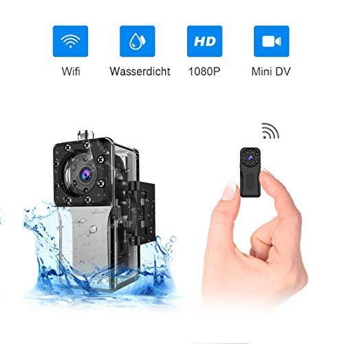 Wasserdichte Wlan Mini Kamera, NIYPS Full HD 1080P Kleine Überwachungskamera, Mikro Wifi Nanny Cam mit Bewegungserkennung und Infrarot Nachtsicht,Innen/Aussen Wireless Weitwinkel IP Sicherheit Kameras (Wireless-kamera-app)
